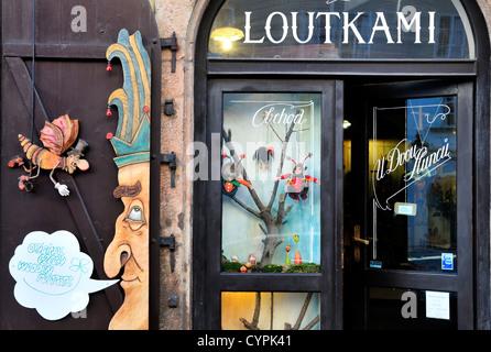 Prague, République tchèque. Boutique de marionnettes dans Nerudova (rue) Banque D'Images