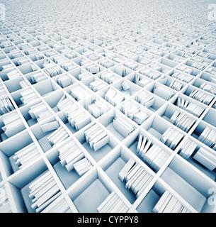 Étagères blanches sans fin (concept illustré) Banque D'Images