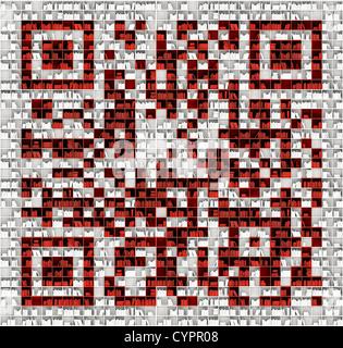 QR code dans la matrice de bookshelfs (concept illustré) Banque D'Images