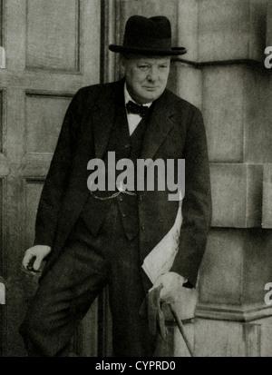 Winston Churchill (1874-1965), homme d'État britannique, soldat et auteur, premier ministre de Grande-Bretagne 1940 Banque D'Images