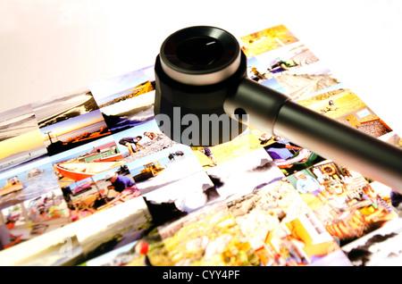 Modification de diapositives sur une table lumineuse d'un journal/magazine. Banque D'Images
