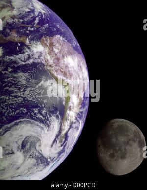 Terre et la lune. Banque D'Images