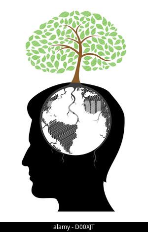 Illustration de l'esprit de l'homme à l'arbre sur fond blanc Banque D'Images