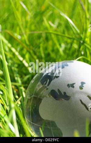 Globe en verre ou de la terre dans l'herbe verte montrant eco concept avec copyspace Banque D'Images
