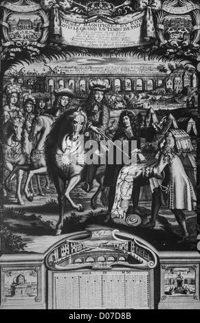 LOUIS XIV (1638-1715) ROI FRANCE CONSULTING ARCHITECTE SUR SON PROJET POUR LA GRAVURE représentant les magnifiques Banque D'Images