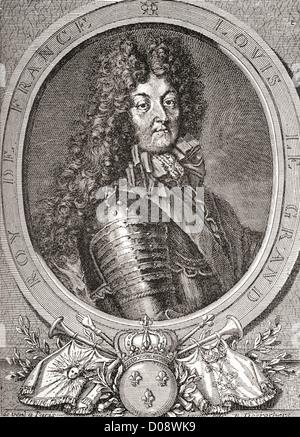 Louis XIV, 1638 - 1715, alias Louis le Grand ou le Roi Soleil. Monarque Bourbon qui régna comme roi de France et Banque D'Images
