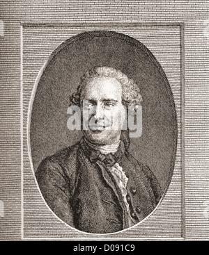 Jean-Baptiste le Rond d'Alembert, 1717 -1783. Mathématicien et philosophe français. Banque D'Images