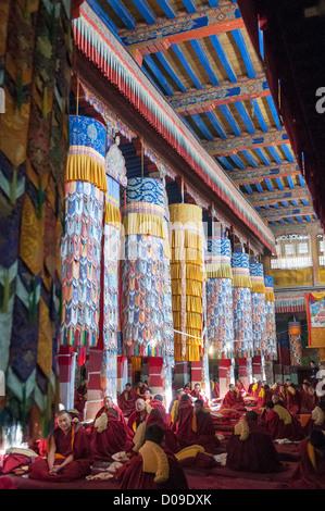 Yellow hat scect moines bouddhistes en salle de prière du monastère de Drepung, à Lhassa, Tibet, Chine Banque D'Images