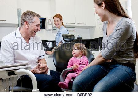 Un dentiste avec une petite fille malade et sa mère Banque D'Images