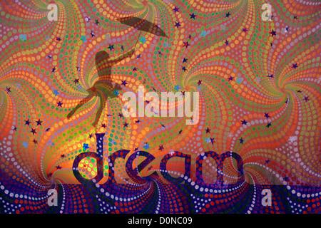 Silhouette fille avec ours et parapluie sur DREAM mot avec chute d'étoiles sur spiral pattern. Rêves d'enfant concept. Banque D'Images