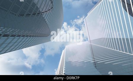 À voir les tours d'immeubles de bureaux Banque D'Images