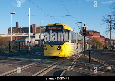 Tramway Metrolink au cours des essais sur la ligne East Manchester, Merrill Street, 4Rs Salford-manchester, Manchester, Banque D'Images