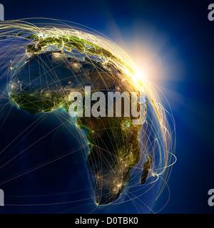 Les routes aériennes principales en Afrique Banque D'Images