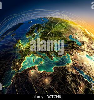 Les routes aériennes principales en Europe Banque D'Images
