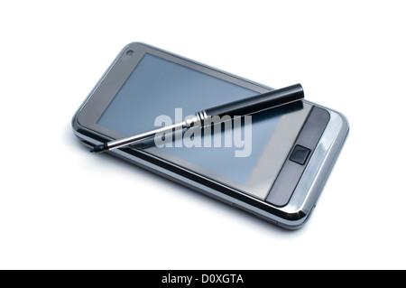 Grand écran PDA isolé sur blanc. Banque D'Images