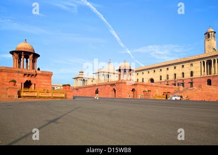 Raisina Hill, North & South blocs à New Delhi, Inde Banque D'Images
