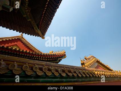 Les toits de la Cité Interdite, Pékin, Chine Banque D'Images