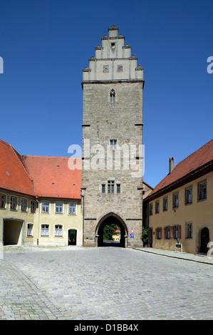 Dinkelsbuehl, Allemagne, Rothenburg porte dans la Vieille Ville Banque D'Images