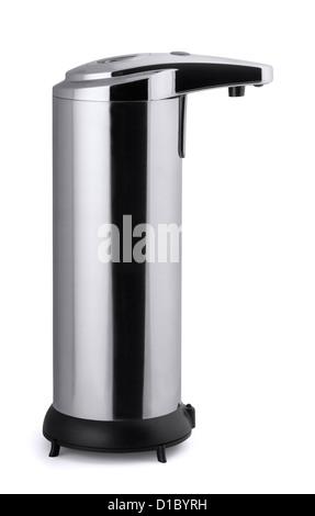 Distributeur de savon en inox automatique isolated on white Banque D'Images