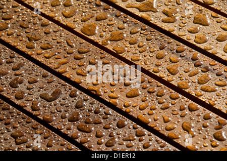 Gouttes de pluie sur le teck. Banque D'Images