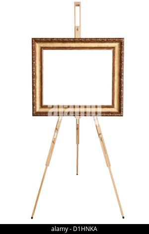Art frame vide, chevalet, vue avant, isolé sur blanc, inclus clipping path Banque D'Images