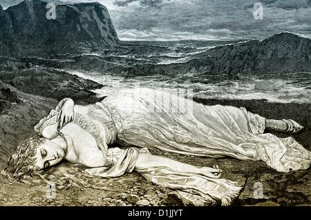 19e siècle, une jeune femme vêtue d'une robe blanche allongée sur une plage, dormir ou morts, une scène romantique, Banque D'Images