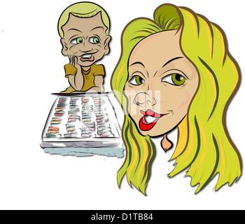 Jolie blonde aux yeux verts, aux cheveux Femme avec petit garçon admirateur, et dessin pastels. Banque D'Images