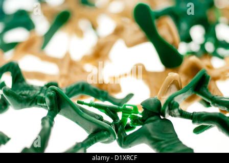 Petits soldats en plastique. Banque D'Images