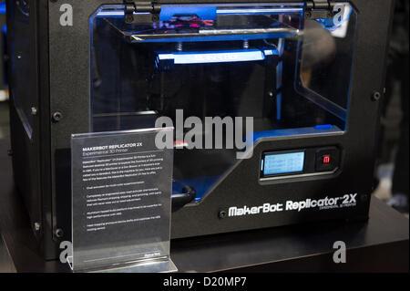 Las Vegas, États-Unis - 2013-01-08. La MakerBot Replicator 2X et l'affichage avec nouvelles fonctionnalités dévoiler Banque D'Images