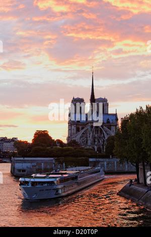 Navire d'excursion sur la Seine avec la cathédrale Notre Dame au coucher du soleil, Paris, France, Europe Banque D'Images