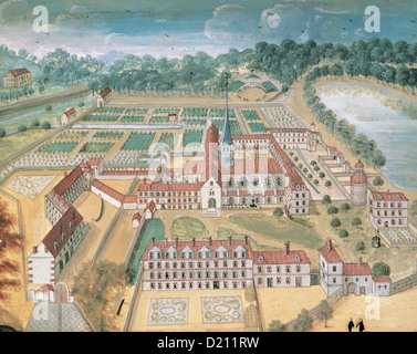 Abbaye de Port-Royal des Champs. Après une gravure anonyme de Magdeleine Horthemels (1686-1767). Banque D'Images