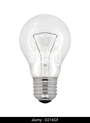 Ampoule électrique isolé sur fond blanc. Banque D'Images