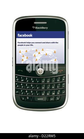 Sur facebook modèle blackberry 9000 mobile phone Banque D'Images