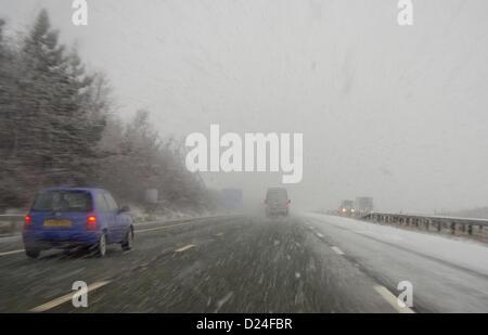 14 janvier 2013 A1, Scotchcorner. Chutes de neige sur l'A1 dans le nord-est de l'Angleterre. Crédit: chris mcloughlin / Alamy Live News