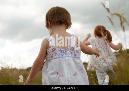 Deux petites filles marchant dans un champ, vue arrière Banque D'Images
