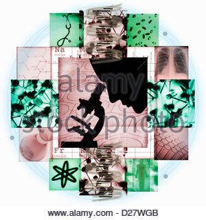 Montage d'images de la recherche médicale Banque D'Images