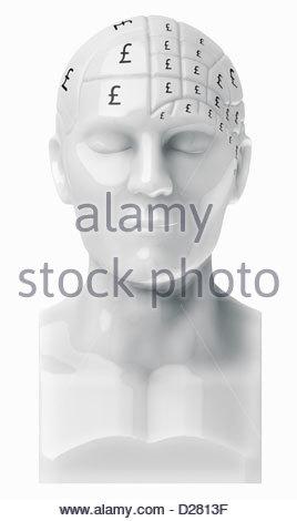 British pound signes couvrant le buste du cerveau Banque D'Images