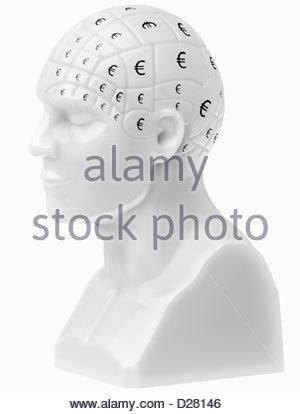 Signes d'euros couvrant le buste du cerveau Banque D'Images