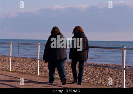 Vue arrière des deux Femmes marchant ensemble portant des manteaux Banque D'Images