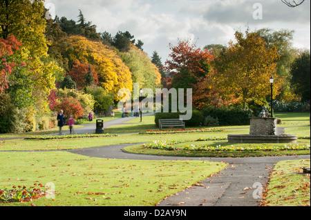 Magnifique parc paysager à l'automne, avec les feuilles des arbres très colorés, Fontaine & people relaxing - Valley Banque D'Images
