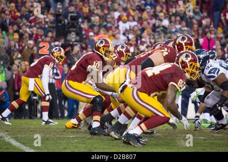 6 janvier 2013, Washington Redskins, Robert Griffin III s'épuise en saluant les fans à FedEx Field. Banque D'Images