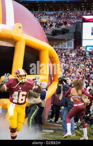 6 janvier 2013, Washington Redskins, Alfred Morris (46) court vers FedEx Field. Banque D'Images