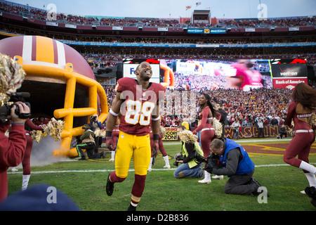 6 janvier 2013, Washington Redskins, Pierre Garcon (88) s'exécute sur le terrain de jeu. à FedEx Field. Banque D'Images