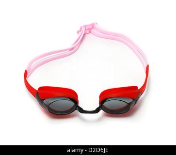 Paire de lunettes de natation rouge découper fond blanc Banque D'Images