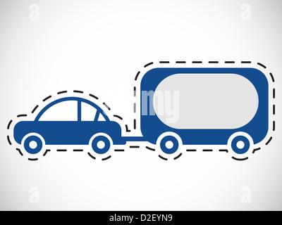 Chariot de transport de voiture derrière elle Banque D'Images
