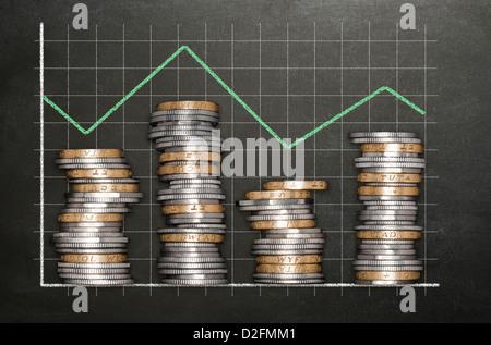 Des piles de jetons sur un tableau noir formant un fond graphique à barres fluctuante - chambre double / triple Banque D'Images