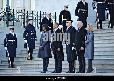 Le président américain Barack Obama, la Première Dame Michelle Obama, le Vice-président Joe Biden, le Dr. Jill Biden Banque D'Images