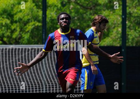Barcelone, Espagne - 15 MAI: Jean Marie Dongou joue avec F.C Barcelona youth team contre SC Las Palmas le 15 mai Banque D'Images