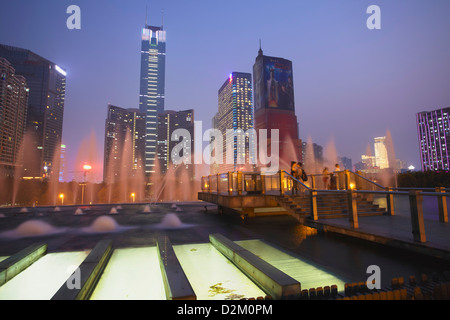 CITIC Plaza, au crépuscule, Tianhe, Guangzhou, Guangdong, Chine Banque D'Images