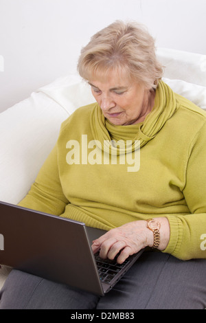 senior woman at home using laptop computer banque d 39 images photo stock 165220044 alamy. Black Bedroom Furniture Sets. Home Design Ideas